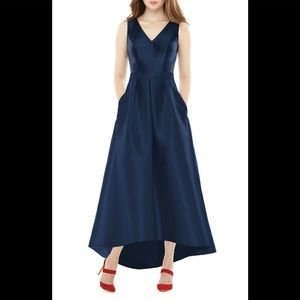 Alfred Sung v neck satin high low gown